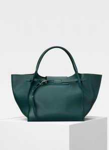 Celine Dark Green Soft Bare Calfskin Medium Big Bag