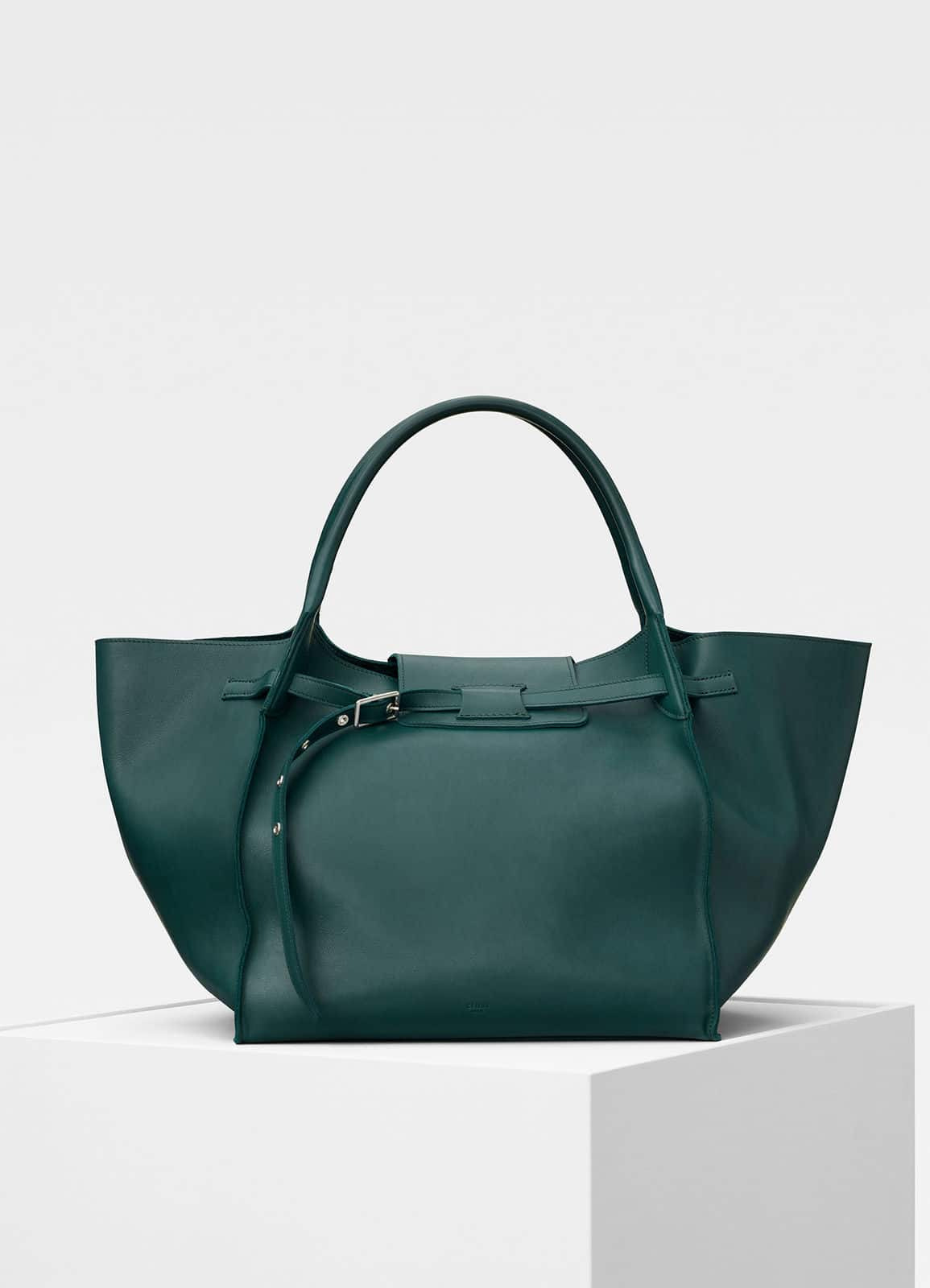 Celine Dark Green Soft Bare Calfskin Medium Bag