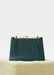 Celine Dark Green Soft Medium Clasp Bag
