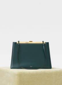 Celine Dark Green Soft Medium Clasp Bag