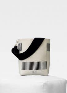 Celine Natural Textured Canvas Sangle Small Bucket Bag