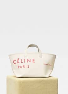 Celine Natural/Red Small Made In Tote Bag