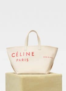 Celine Natural/Red Textile Medium Made In Tote Bag