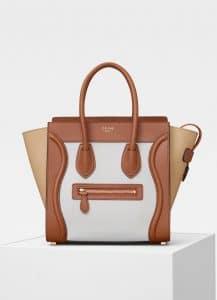 Celine Tan/Sand Multicolor Smooth Calfskin Micro Luggage Bag