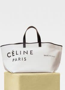 Celine White/Black Large Made In Tote Bag