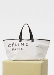 Celine White/Black Textile Medium Made In Tote Bag