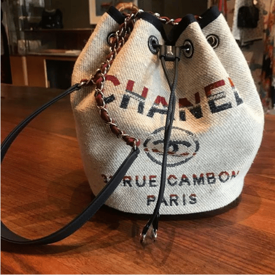 6a9d34a14555 Chanel Beige Canvas Deauville Drawstring Bag. IG  kocengayang79