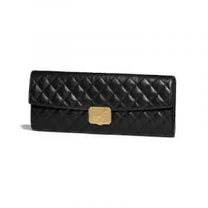 Chanel Black Aged Calfskin Clutch Bag