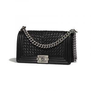Chanel Black Braided Calfskin Old Medium Boy Flap Bag