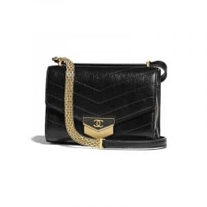 Chanel Black Chevron Calfskin Mini Flap Bag