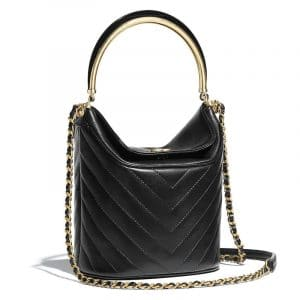 Chanel Black Chevron Lambskin Bucket Bag