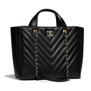 Chanel Black Chevron Statement Large Shopping Bag