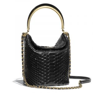 Chanel Black Python Bucket Bag