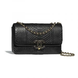 Chanel Black Python/Lambskin Flap Bag