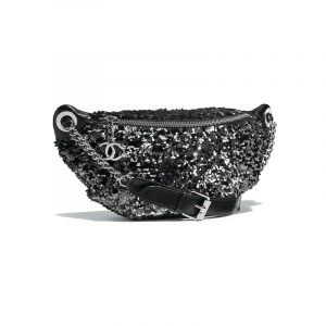 Chanel Black Sequin Waist Bag
