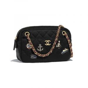 Chanel Black Wool with Charms Camera Case Bag