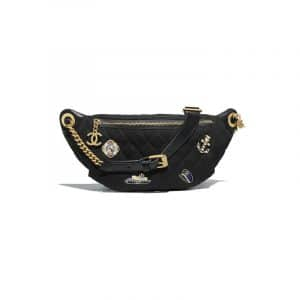 Chanel Black Wool with Charms Waist Bag