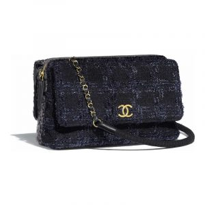 Chanel Black/Gray/Silver Tweed Flap Bag
