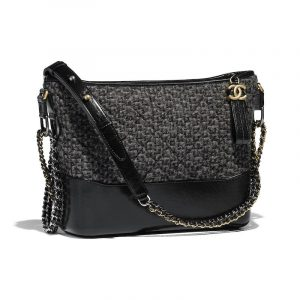 Chanel Black/Gray/Silver Tweed Gabrielle Hobo Bag