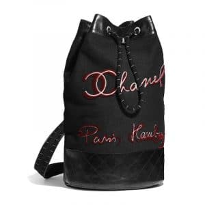 Chanel Black/Red Embroidered Wool and Calfskin Backpack Bag