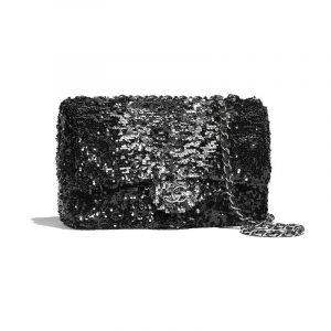 Chanel Black/Silver Sequin Small Flap Bag