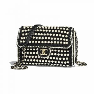 Chanel Black/White Crochet with Pearls Flap Bag