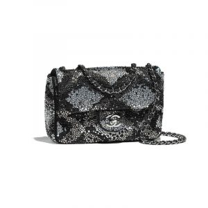 Chanel Black/White Suede Goatskin with Strass Mini Flap Bag