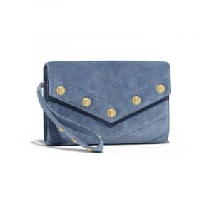 Chanel Blue Chevron Suede Calfskin Mini Clutch Bag