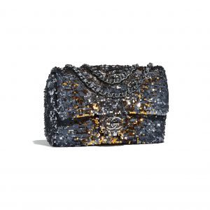 Chanel Blue/Gold Sequin Flap Bag