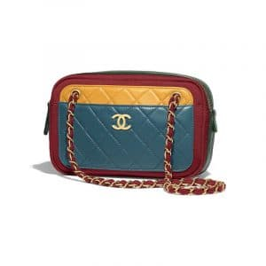 Chanel Blue/Yellow/Green/Red Lambskin:Jersey Camera Case Bag