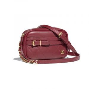 Chanel Burgundy Calfskin Small Camera Case Bag