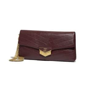 Chanel Burgundy Chevron Calfskin Clutch Bag