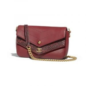 Chanel Burgundy Chevron Calfskin/Elaphe Mini Flap Bag
