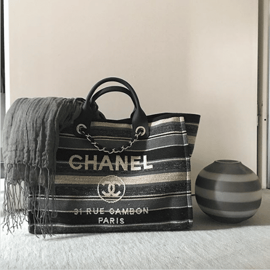 86954cd24 Chanel Canvas Deauville Shopping Bag. IG: addicted_to_hermes. Chanel Gray/ Dark ...