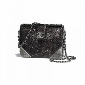 Chanel Charcoal Python Rock The Corner Minaudiere Bag