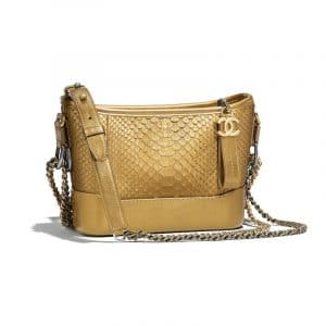 Chanel Dark Gold Python Gabrielle Small Hobo Bag