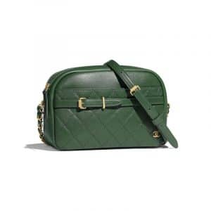 Chanel Dark Green Calfskin Medium Camera Case Bag