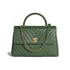 Chanel Dark Green Calfskin:Lizard Large Coco Handle Bag