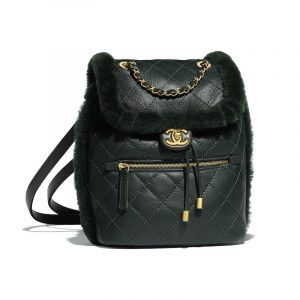 Chanel Dark Green Lambskin/Shearling CC Backpack Bag