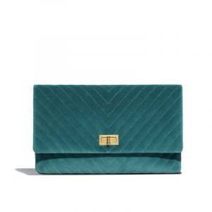 Chanel Dark Turquoise Chevron Velvet Reissue Clutch Bag