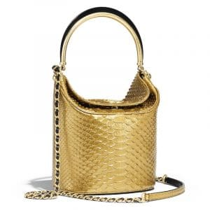 Chanel Gold Python Bucket Bag