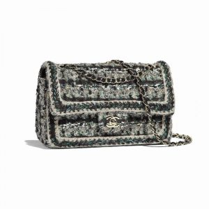 Chanel Gold/Black/Green/White Tweed Medium Classic Flap Bag