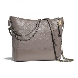 Chanel Gray Aged Calfskin Gabrielle Large Hobo Bag