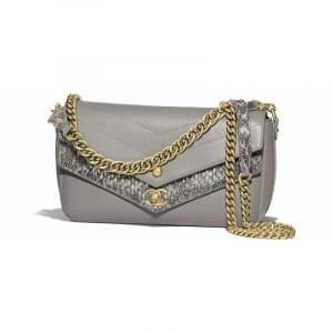 Chanel Gray Chevron Calfskin/Elaphe Small Flap Bag