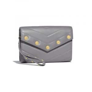 Chanel Gray Chevron Lambskin Mini Clutch Bag