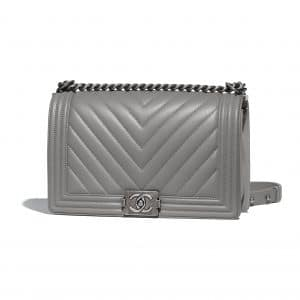 Chanel Gray Chevron New Medium Boy Flap Bag