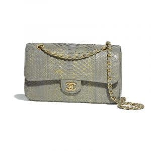 Chanel Gray Python Classic Flap Medium Bag