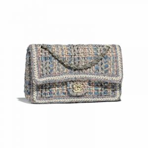 Chanel Gray/Blue/Ecru/Black Tweed Medium Classic Flap Bag