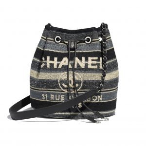 Chanel Gray/Dark Gray/Black Canvas Deauville Drawstring Bag