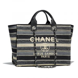 Chanel Gray/Dark Gray/Black Canvas Deauville Shopping Bag